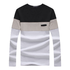 2017 New fashion casual striped patchwork cotton t-shirt