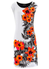 ladies summer Casual Women vintage Print Floral Sleeveless office dress plus size