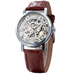 WINNER NEW Unisex Leather Strap Skeleton Semi-automatic Mechanical Watches