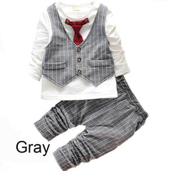 Baby Boy Clothing Set with Long Sleeve & Tie coat + Striped Pants
