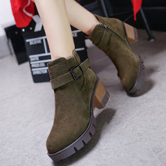 High Quality European Nubuck Leather Fashion High-heeled Women Boots