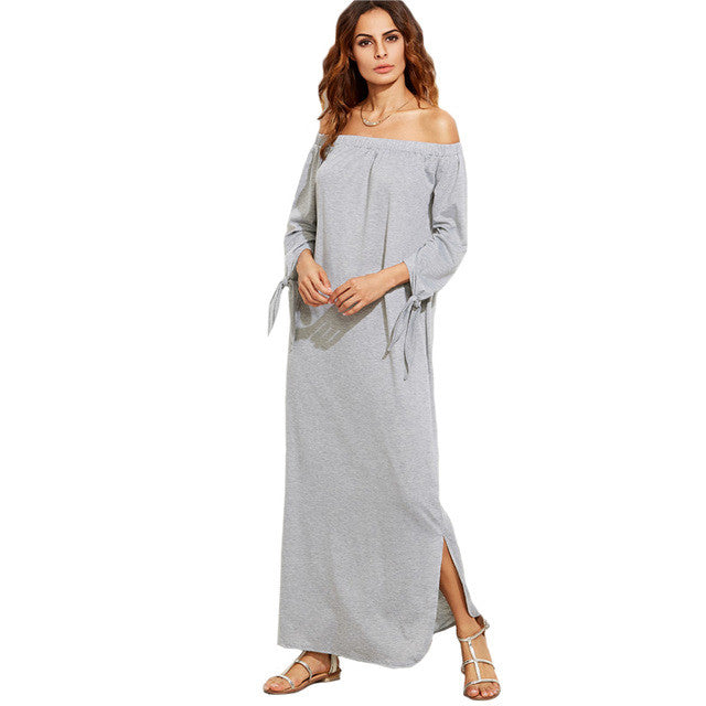 SheIn Long Shift T-shirt Dresses For Ladies Summer Heather Grey Off Maxi Dress
