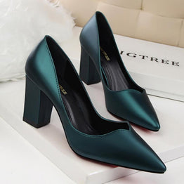 Super Star Style Comfortable Square High Heels Work Shoes