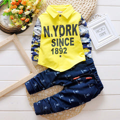 Baby Boy Infant Letter Print Long Sleeve T-shirt + Pants Cotton Clothing Sets