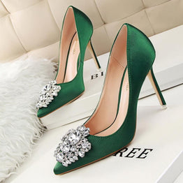 Women High Heels Silk Stones Stiletto Shoes