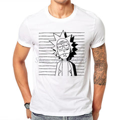 Men Rick And Morty Funny Man T-shirt White Cotton Short Sleeve Tops