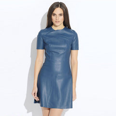 Hot Sale Women Fashion Leather Casual Mini Dress Vestidos PU Dress 2153