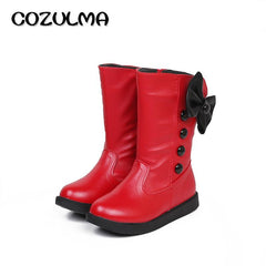 Cotton-Padded Spring Boots With Bow Knot for Girls