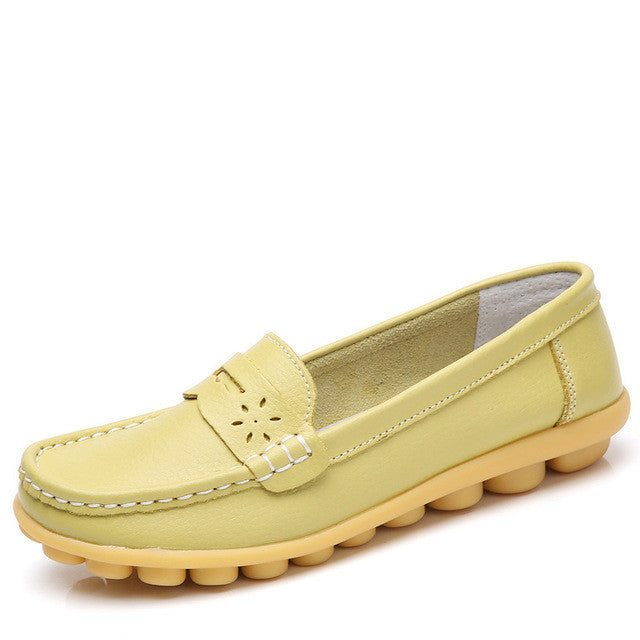 New Women Real Leather Moccasins Mother Loafers Flats Shoes