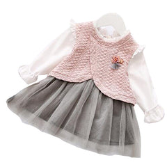 Baby Girls Long Sleeve Patchwork Princess Spring Dress