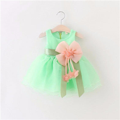 Baby Girls Sleeveless Party Lace Up Flower Design Dress