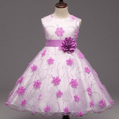 Baby Girls Flower & Design Dress with Satin Flower Belt