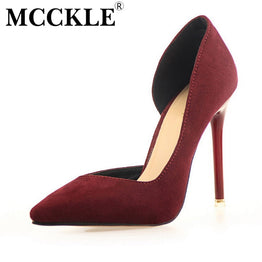MCCKLE Women's Fuax Suede Shoes Sexy High Heels Pumps