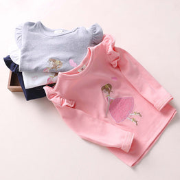Sweet Pink Autumn / Spring Long - Sleeved Embroidery T Shirt