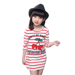 Cherry Printed Long T-shirt / Tops for Girls