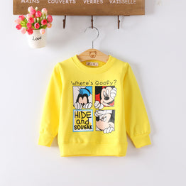 Cartoon Character Long Sleeve O-neck T-shirts For Girls