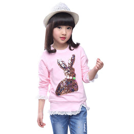 O-neck Long Sleeve Tops With Lace Design