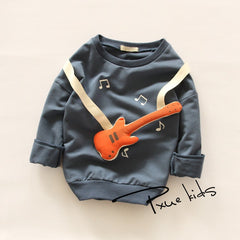 3D Cartoon Guitar Design Long Sleeve Tees