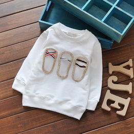 Embroidered Long Sleeve O-neck  Cotton T-shirts