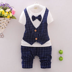 Baby boy T-shirt+grid Trouser Suit