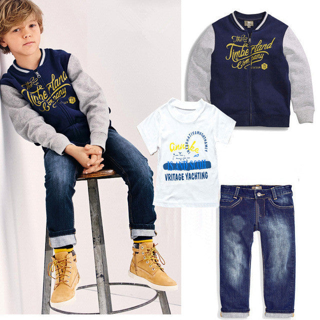 3pcs clothing set coat+ t shirt + jeans pants