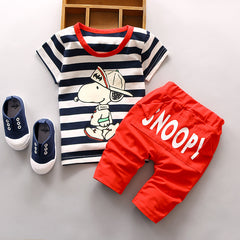 Cartoon Print Casual Clothing Set with Short-sleeve Striped t shirt