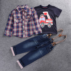 3pcs suit set with Long Sleeve Plaid Car truck  T-shirt + Jeans