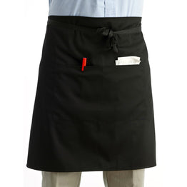 Unisex Kitchen Waist Apron with Double Pockets (Black)