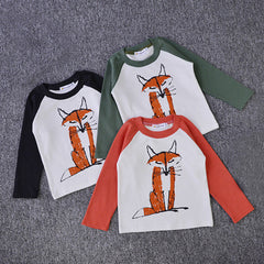 Fox Print Long Sleeve T-shirt / Tops for Baby Boy