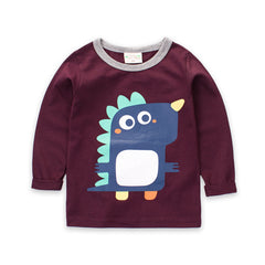 Long Sleeve Cotton Knit Cartoon T-shirt for Boys
