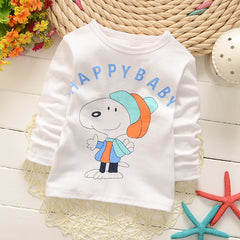 Long Sleeve Cartoon Print Cotton T-Shirts