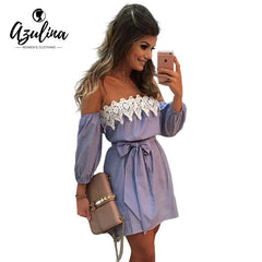 AZULINA Plus Size Elastic Sexy Off Shoulder Blue Striped Mini Dress