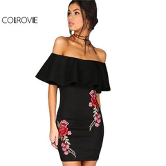 COLROVIE Summer Dress Women Black Sexy Off Shoulder Embroidery Party Dresses 2017