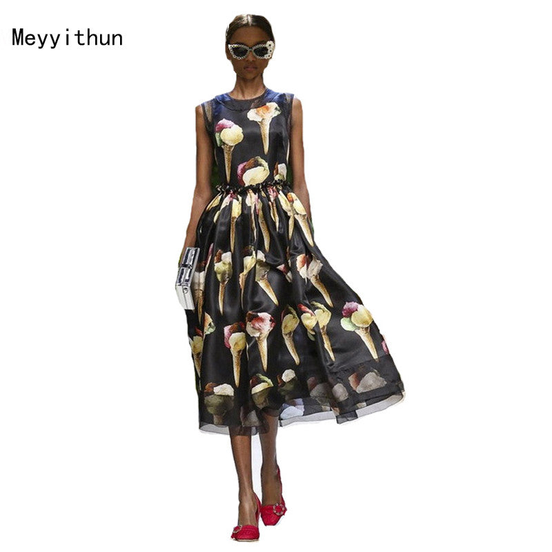 Meyyithun Runway New Ice Cream Printed Vest Dress