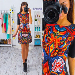 2017 Women Dress Vintage Printed Half Sleeve Slim Party Dresses