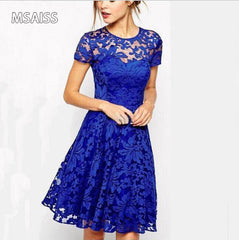 MSAISS Elegant Lace Crochet Flower Vintage Women Summer Dress Plus Size S~5XL