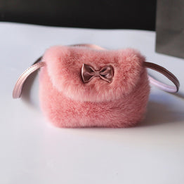 Faux fur plush crossbody coin purses for baby girls