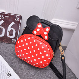 PU leather cute cartoon design with polka dot small crossbody pouch bag