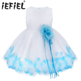 Flower Petals Tulle Wedding Ball Formal Gown Party Dress for Toddler Girls