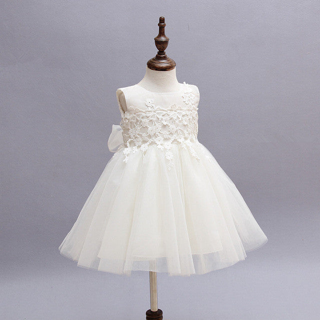 2017 new whttism dress for girls 0-2years sleeveless princess baby girl clothes children wedding dresses vestido infantil