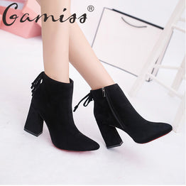 Gamiss Cylinder Boots 9cm High Heels Martin Boots
