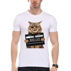TEEHEART Men's Bad Cat Police Dept Print T-Shirt for Men