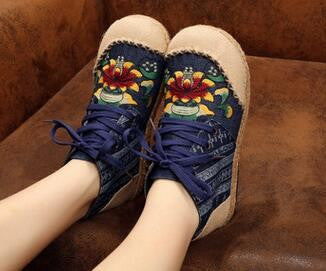 Ethnic Style Mid-Cut Cotton Fabric Linen Round Toe Flat Shoes