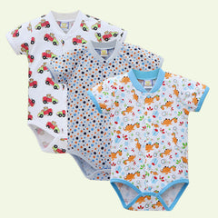 2017 Cotton One Piece Newborn Bodysuits Baby 3pcs/lot Girls Jumpsuits Summer Short Toddler Clothing Fashion Print Clothes