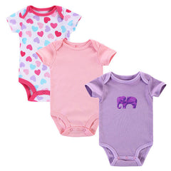 3pcs/lot 100% Cotton Short Sleeves Baby Rompers