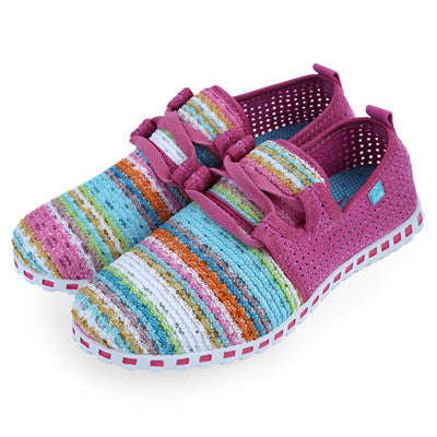 Gamiss Unisex Casual Flats Lace-Up Rainbow Strip Outdoor Flat Shoes