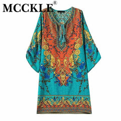 MCCKLE women summer dress 2017 vintage Boho print chiffon beach dress