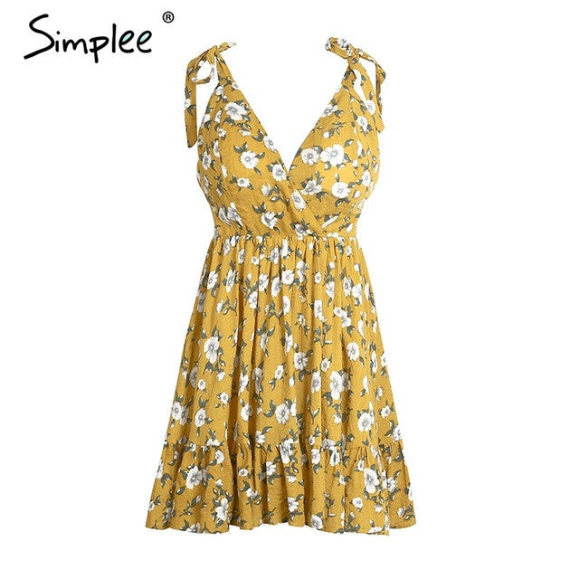 Simplee Sexy backless padded print summer dress for women