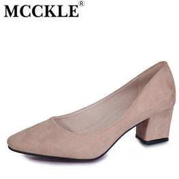 Flock High Heels Square Pointed Toe Pump for Women