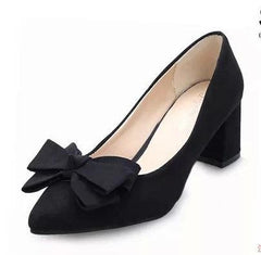 5cm High Heel Big Bow Tie Pointed Korean Pumps Shoes